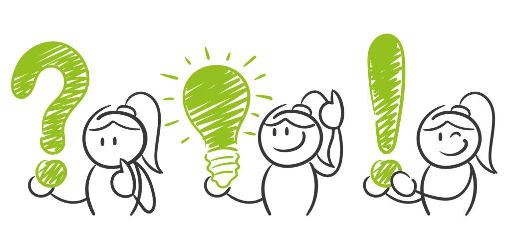 Mediacja - rysunek przedstawia trzy osoby. Pierwsza trzyma znak zapytania, druga żarówkę a trzecia wykrzyknik. Jak rozwiązać spór? Poprzez mediację! Mediacja to dobry wybór!